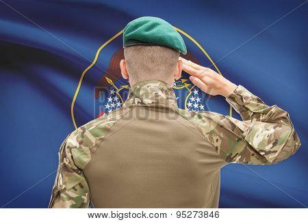 Soldier saluting to US state flag series - Utah poster