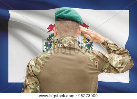 Soldier Saluting To Usa State Flag Conceptual Series - West Virginia