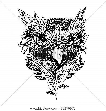 Abstract graphic owl, print.