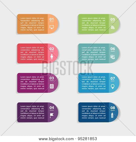 Vector paper stickers and labels with realistic shadows for infographic set.