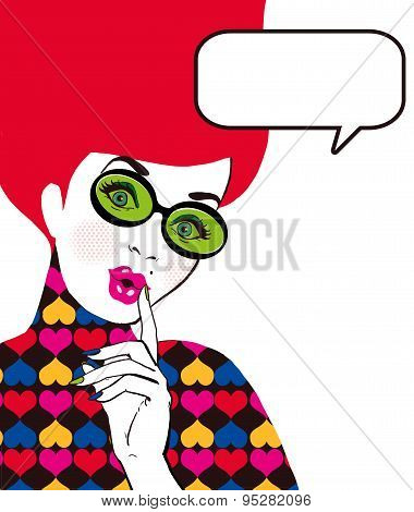 Pop Art illustration of woman with the speech bubble in glass.Pop Art girl. Party invitation.