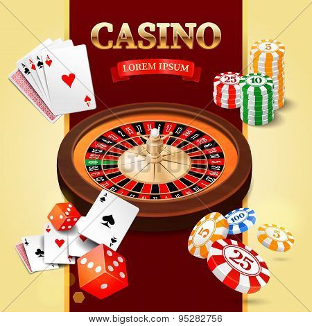 Casino background with roulette wheel, chips, game cards and craps