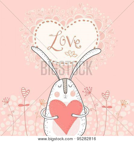 Love bunny with red heart.Love background. Rabbit in love.