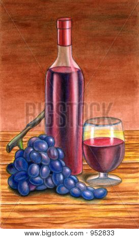 grape and wine on a table. hand painted illustration poster