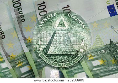 Pyramid, Eye Of Providence Above 100 Euros Banknotes. Macro