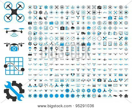 365 air drone and quadcopter tool icons. Icon set style: flat vector bicolor images, blue and gray symbols, isolated on a white background. poster