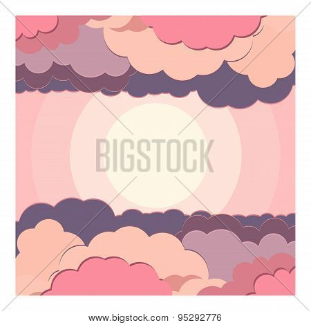 Vector Set Illustration Background Water And Cloud