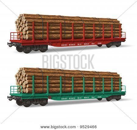 Railroad flatcars with lumber