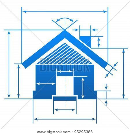 Home Symbol With Dimension Lines