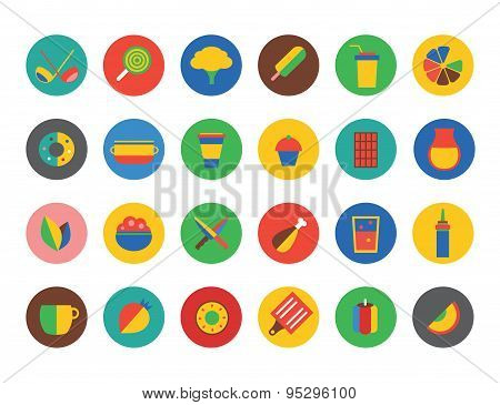 Kitchen Food Icons Vector Set. Fruit, dinner or eating and drinks symbols. Stocks design element.