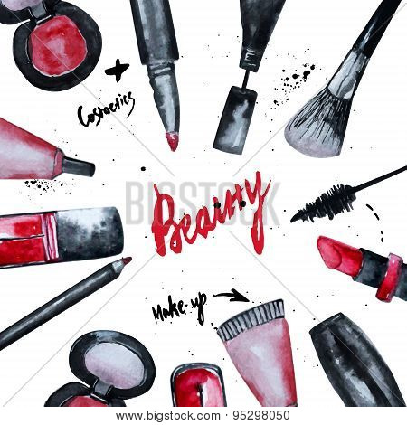 Vector watercolor Glamorous make up set of cosmetics with nail polish and lipstick.Creative design for card web design background book cover. poster