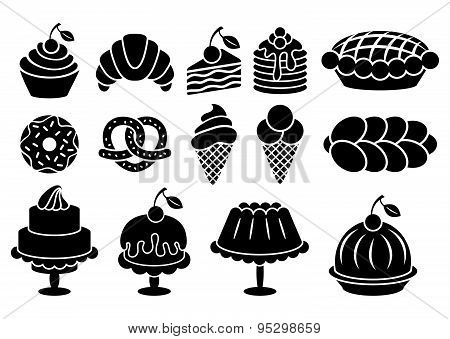Sweet Baked Food Silhouettes Set