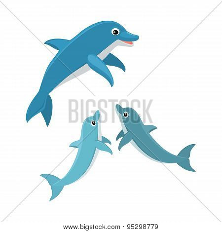 Cute cartoon dolphin vector illustration