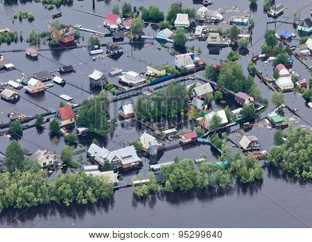 Flooded village in lowland of Great river