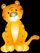 cute little tiger cub tilting it's head over a black background.illustration. poster