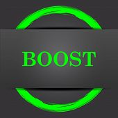 Boost icon. Internet button with green on grey background. poster