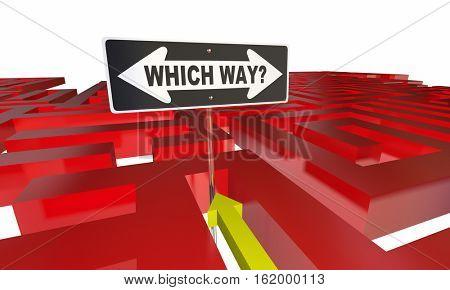 Which Way Choose Decide Path Maze 3d Illustration