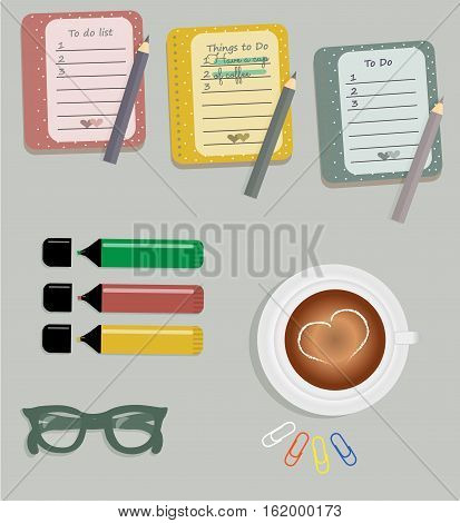 Stationery: The sheets of the planner in a cute polka dots. To Do Lists with little hearts. Markers. Cup with coffee on saucer. Dark green glasses. Pencils. Clips. Vector illustration.