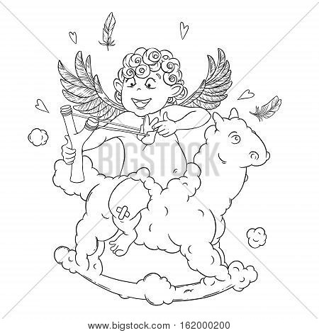 Valentine's day. Funny Cupid on a cloud horse shoots with a slingshot. Vector illustration isolated on white background. Card. Coloring page.