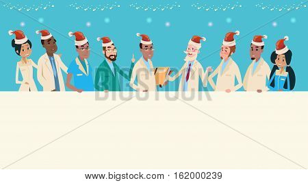 Group Medial Doctors Team Wear Santa Claus Hat Merry Christmas And Happy New Year Banner Flat Vector Illustration