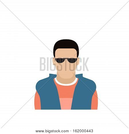 Profile Icon Male Avatar Man, Hipster Cartoon Guy Portrait, Casual Person Silhouette Face Flat Vector Illustration