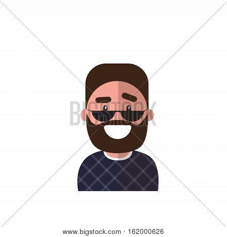 Profile Icon Male Avatar Man, Hipster Cartoon Guy Beard Portrait, Casual Person Flat Vector Illustration