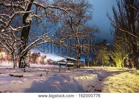 bench and trees on a background of high-rise buildings and silhouettes of two people on a snowy park road in the light of street lamps at night.