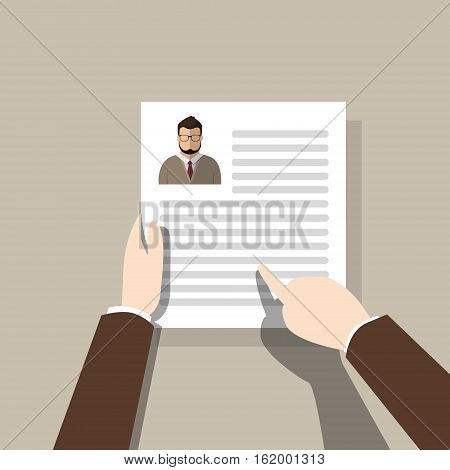 Curriculum Vitae Recruitment Candidate Job Position, Hands Hold CV Profile Hire Interview Vector Illustration