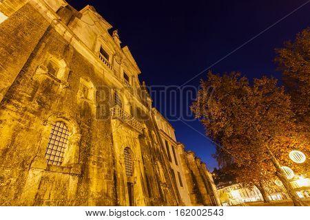 Alcobaca Monastery at night. Alcobaca Oesste Portugal