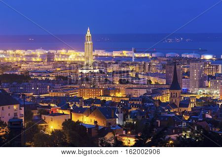 Panorama of Le Havre at night. Le Havre Normandy France.
