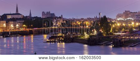 Panorama of Nantes at sunrise. Nantes Pays de la Loire France.