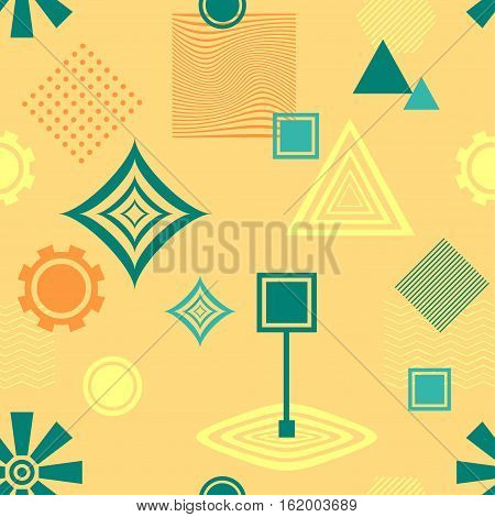 Abstract seamless pattern from geometric form in postmodern Memphis Style blue green on yellow beige for wallpaper or package or for clothes or for creative design abstract city in retro colors