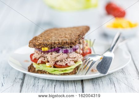 Tuna Sandwich With Wholemeal Bread (selective Focus)