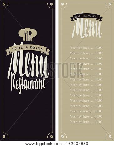 menu for the restaurant with the price list and toque