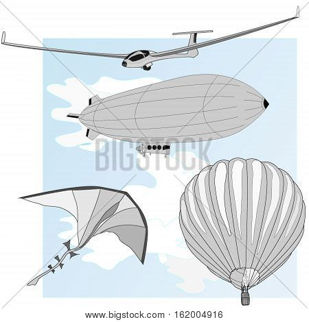 air transportation items set image isolated on white.