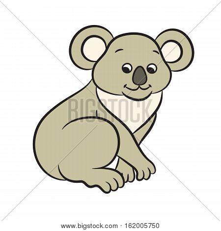 Illustration of cute cartoon koala bear onwhite background
