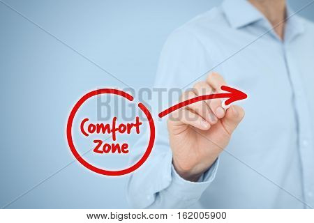 Leave your comfort zone, personal development, innovation,  motivation and challenge concepts.