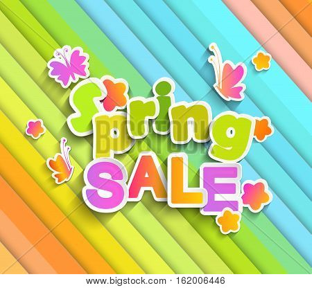 Inscription Spring sale with butterfly and flowers and spring colour paper background. Vector Illustration eps10.
