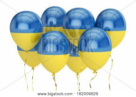 Balloons with flag of Ukraine holyday concept. 3D rendering isolated on white background