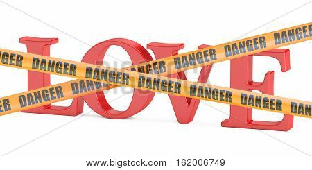 dangerous love concept 3D rendering isolated on white background