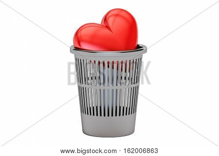 Trash bin with red heart 3D rendering isolated on white background