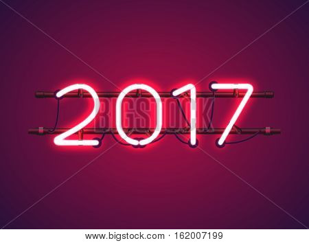 Glowing Red Neon sign 2017 with wires tubes brackets and holders. Vector element for New Year card logo or other design.