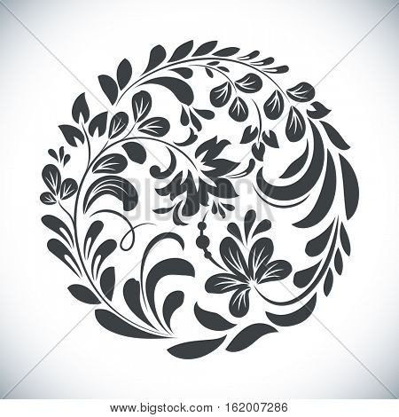 Black and white round floral element vector illustration. Circular flower design isolated on white background.