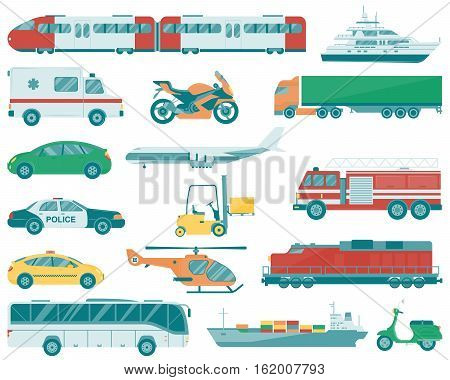 Transportation icons set. City cars and vehicles transport. Vector illustration