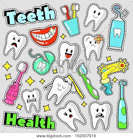 Funny Teeth and Dentistry Elements Scrapbook Stickers, Badges, Patches. Vector Doodle