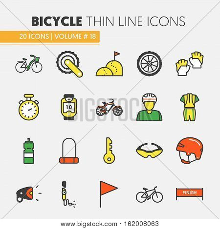 Bicycle and Biking Thin Line Vector Icons Set with Bike and Cyclist