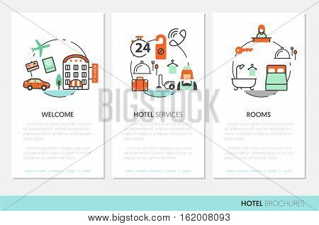 Hotel Accomodation Business Brochure Template with Thin Line Vector Icons