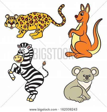 Cute cartoon zoo animals collection. Vector illustration