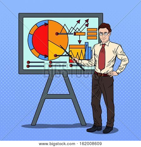 Pop Art Businessman with Pointer Stick Presenting Business Chart. Vector illustration
