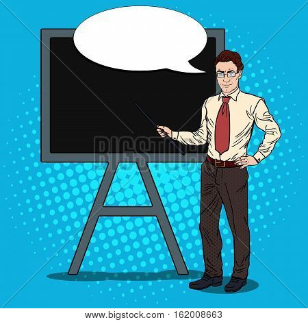 Pop Art Businessman with Pointer Stick and Black Board. Vector illustration